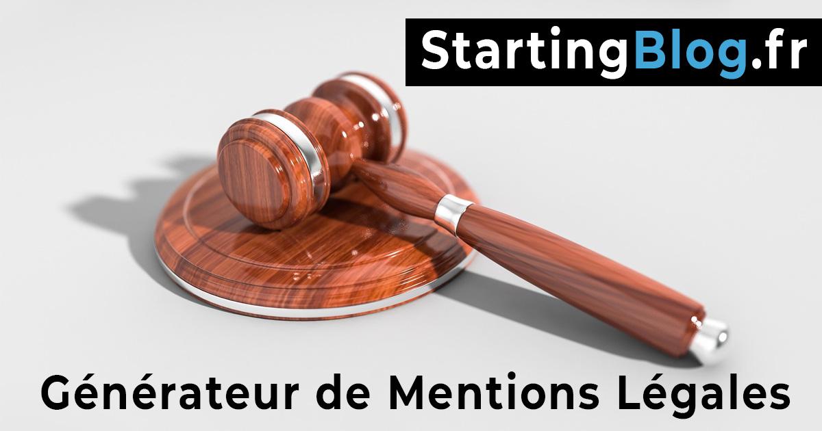Générateur de Mentions Légales. Créer facilement et gratuitement vos mentions légales